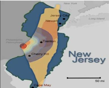 Israel Superimposed on NJ Map -BlueStar 2012