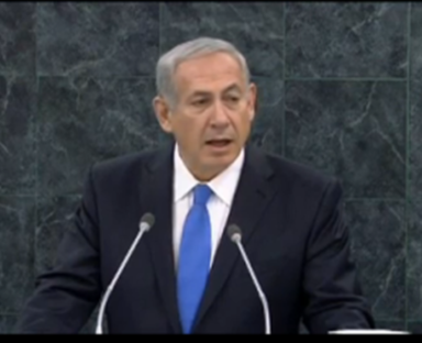 Israeli Prime Minister Benjamin Netanyahu addresses the United Nations General Assembly.  October 1, 2013.  Screen grab from United Nations video.