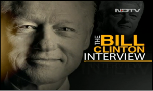 Bill Clinton NDTV interveiw, July 2014. Photo: video screen-grab.