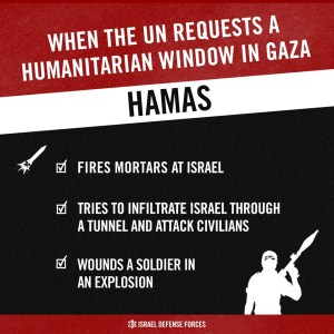 The United Nations requested a humanitarian window in Gaza. israel agreed, but Hamas took the opportunity to attack Israel. Graphic: IDF.
