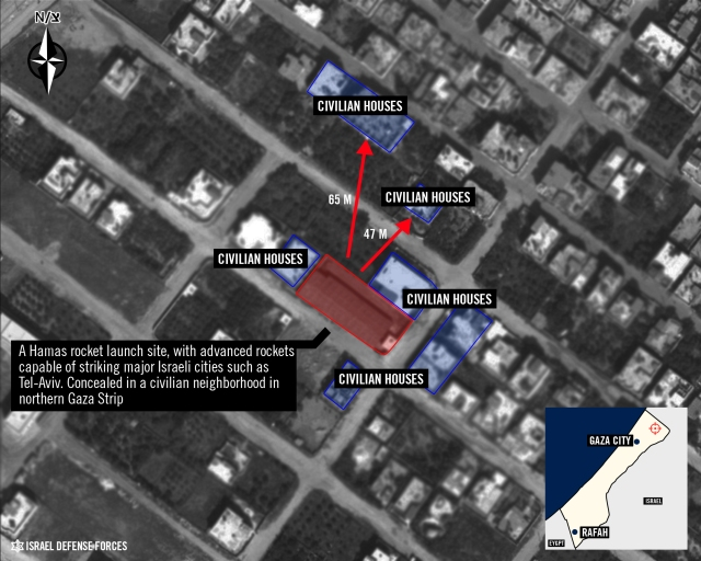 Hamas rocket launching site in Gaza civilian neighborhood. Source: IDF.