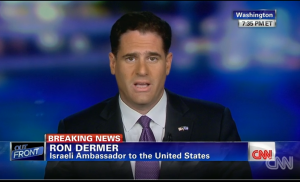 Israeli Ambassador to the US Ron Dermer. CNN Outfront interview. July 8, 2014. Photo: CNN video.