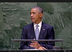 President Obama delivered an address to the United Nations General Assembly on September 24, 2014. Credit: screen grab from whitehouse.gov video