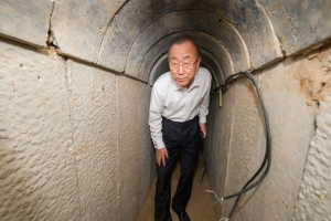 Secretary-General Ban Ki-moon's visit to the tunnel at Ein Hash Losa. October 14, 2014. Credit: UN Photo/Eskinder Debebe.
