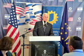 December 30, 2014: Governor Pence speaks to more than 100 business and government leaders in Tel Aviv at the Israel-America Chamber of Commerce luncheon. Credit: Office of Indiana Governor.