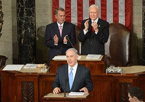 Israeli Prime Minister Benjamin Netanyahu addresses a joint meeting of the US Congress. March 3, 2015. Photo Credit: Amos Ben Gershom, Israel GPO