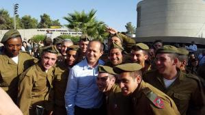 Jerusalem Mayor Nir Barkat attends a red beret ceremony at Ammunition Hill. October 15, 2015. Credit: Jewish National Fund.