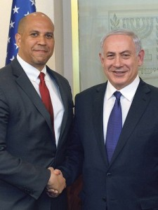U.S. Sen. Cory Booker, left, met with Israeli Prime Minister Benjamin Netanyahu during a recent mission to Israel and other American ally nations by Democratic senators. Credit: NJJN, with photo courtesy Sen. Cory Booker.